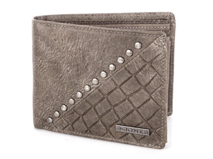 Szary, duży portfel męski skórzany z ćwiekami J Jones