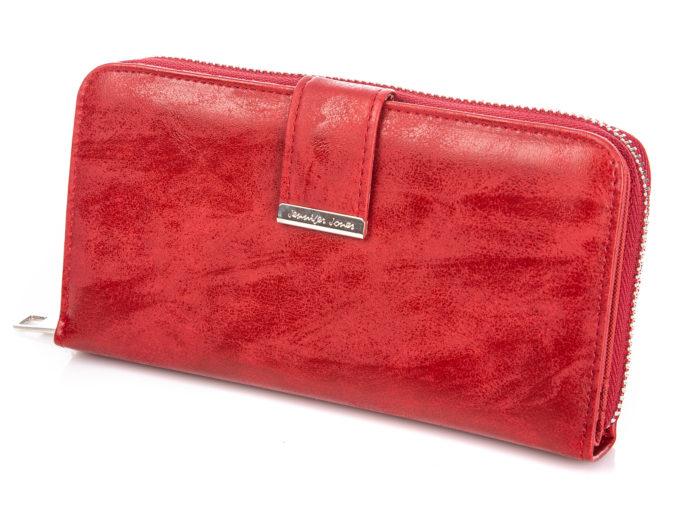 Duży czerwony portfel damski ze skóry ekologicznej