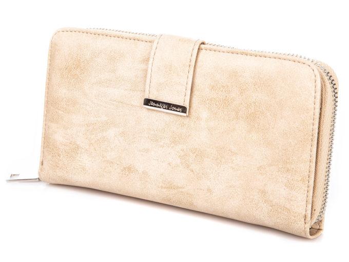 Duży portfel damski w kolorze ecru ze skóry ekologicznej Jennifer Jones