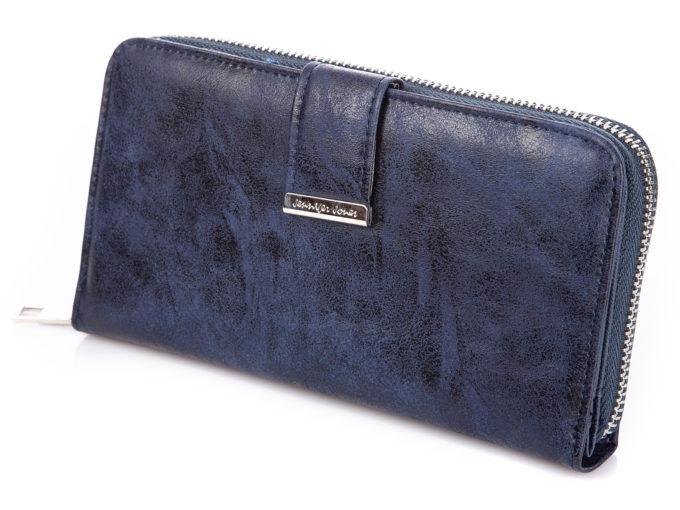 Duży granatowy portfel damski ze skóry ekologicznej