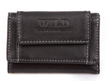 Mały czarny portfel męski skórzany Wild