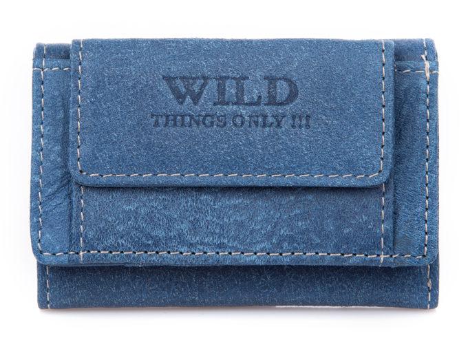 Mały portfel męski w kolorze jeansowym niebieskim.