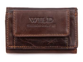 Mały ciemno brązowy portfel męski skórzany Wild