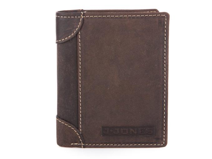 Pionowy portfel męski bifold ciemno brązowy