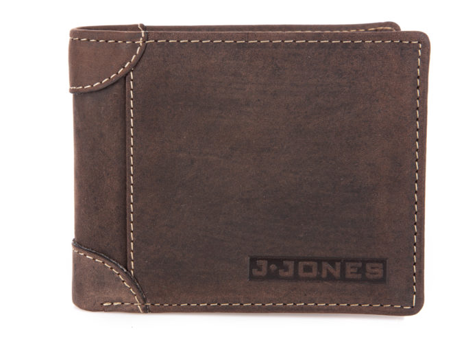 Poziomy skórzany portfel męski bifold ciemny brąz