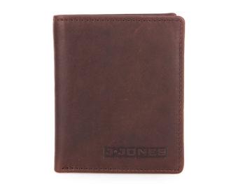 Pionowy portfel męski skórzany kasztanowy brąz