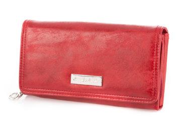 Czerwony poziomy portfel damski ze skóry ekologicznej
