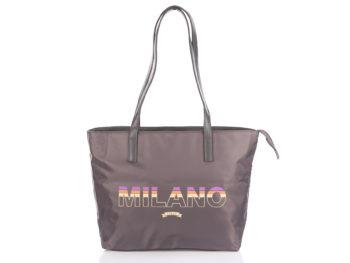 Szara shopperka damska materiałowa MILANO
