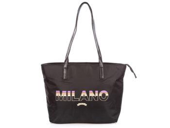 Czarna shopperka damska materiałowa MILANO