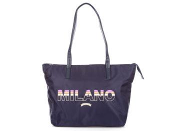 Granatowa shopperka damska materiałowa MILANO