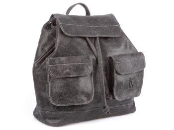 Skórzany plecak damski szary w stylu vintage SERGEJ