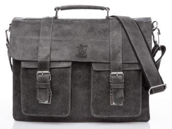 Skórzana torba męska A4 szara w stylu vintage SERGEJ