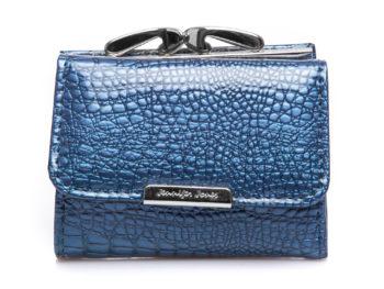 Mały kieszonkowy portfel damski niebieski lakierowany Jennifer Jones