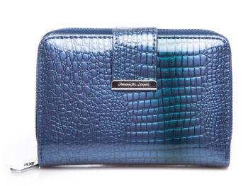 Portfel damski niebieski lakierowany średni Jennifer Jones