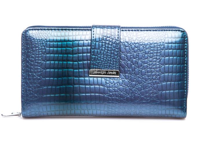 Duży portfel damski niebieski lakierowany Jennifer Jones