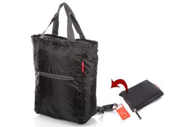 Plecako-torba składana zakupowa czarna lekka