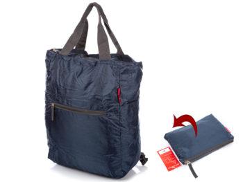 Granatowy plecak i torebka w jednym składana