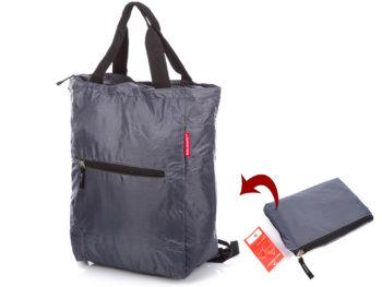Szary plecak i torba w jednym składana do małej saszetki