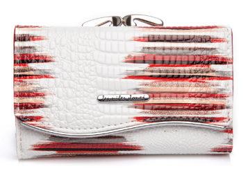 Duży lakierowany portfel damski biało czerwony Jennifer Jones 5245