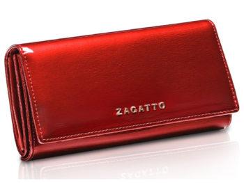 bardzo pojemny czerwony portfel damski lakierowany ZAGATTO ZG-102-SH