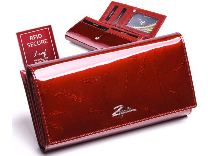 czerwony duży lakierowany portfel damski zagatto ZG-150-LEAF RED