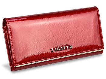 duży poziomy portfel damski czerwony lakierowany Zagatto ZG-4005-SH RED