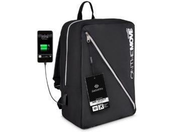 średni czarny plecak z USB Zagatto ZG15 On the move