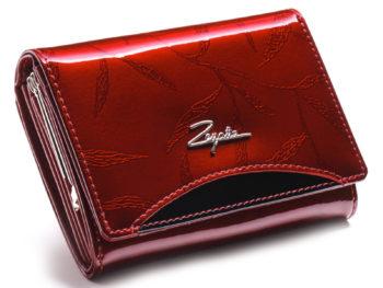 średniej wielkości czerwono czarny portfel damski lakierowany ZAGATTO ZG-445-LEAF
