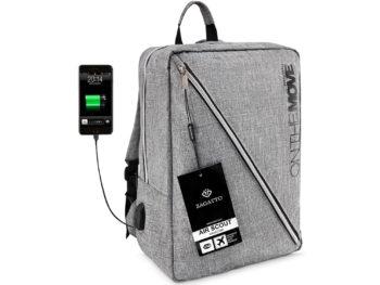 szary elegancki plecak z USB średni Zagatto on the move ZG 16