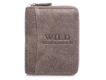 Pionowy portfel męski zapinany na zamek - szary WILD