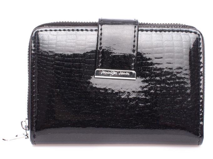 Średni lakierowany portfel damski czarny z brokatem Jennifer Jones