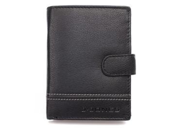 Elegancki skórzany portfel męski czarny z szarym szwem