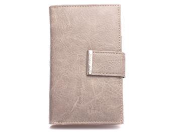 Duży szary portfel damski ze skóry ekologicznej