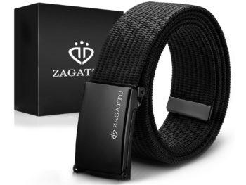 czarny materiałowy pasek męski do spodni zagatto k2-cz