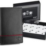 portfel męski skórzany ZAGATTO pionowy z czerwonym paseczkiem