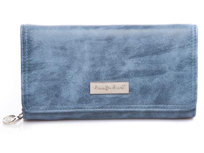 Duży poziomy portfel damski w kolorze jasnego jeansu jennifer jones