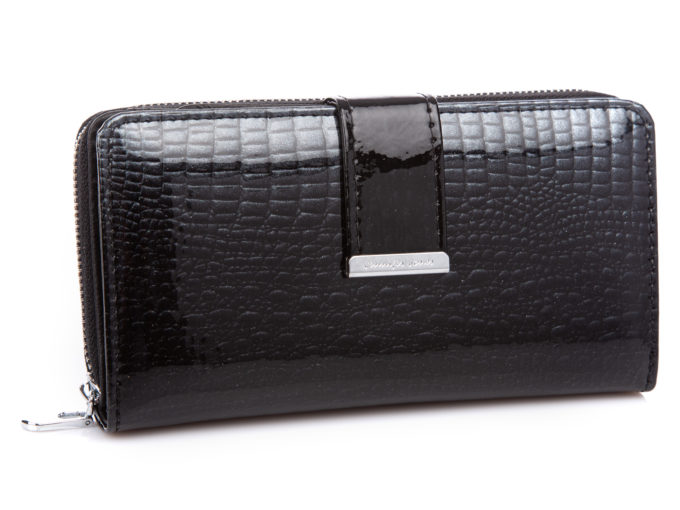 Czarny portfel damski z drobinkami brokatu Jennifer Jones