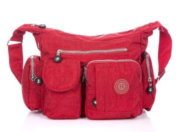 Czerwona materiałowa torebka z kieszonkami Bag Street