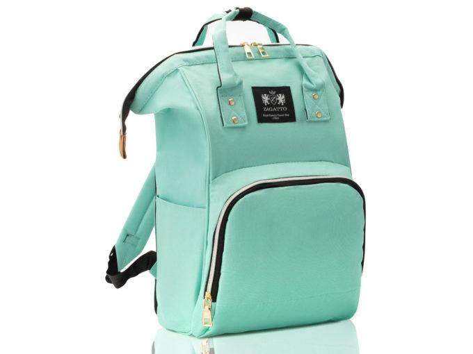 Miętowa torba i plecak w jednym do wózka dla dzieci ZAGATTO