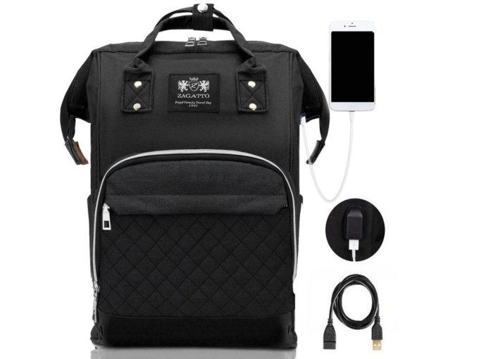 plecako torba czarna zagatto do wózka dziecięcego z portem USB