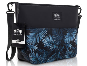 torebka do wózka dzicięcego czarna z niebieskimi kwiatami ZAGATTO