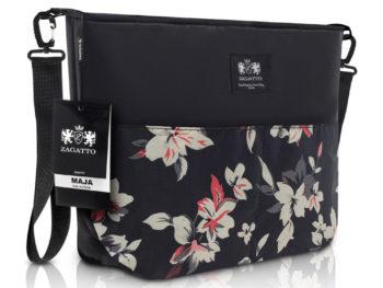 torebka do wózka dziecinnego czarna w kwiaty ZAGATTO