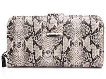 Szaro biały portfel damski duży skóra węża Jennifer Jones
