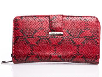 Duży czerwony portfel damski skóra węża Jennifer Jones