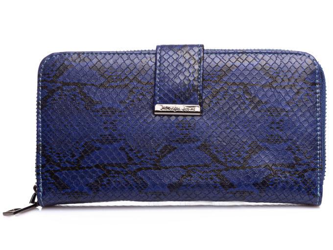 Duży granatowy portfel damski skóra węża Jennifer Jones