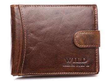 Ciemnobrązowy portfel męski skórzany WILD