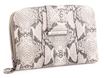 Jasnoszary portfel damski z wzorem skóry węża