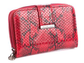 Czerwony portfel damski stylizowany na skórę węża