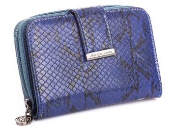 Niebieski portfel damski z łuskami węża Jennifer Jones