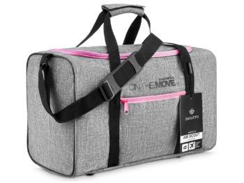 Szara torba podróżna z różowymi zamkami Zagatto